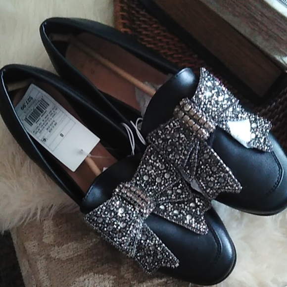 A New Day Black Bow Beaded Jean Dress Shoes